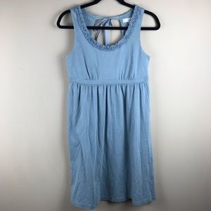 Ann Taylor Loft Blue Sundress ruffle bow